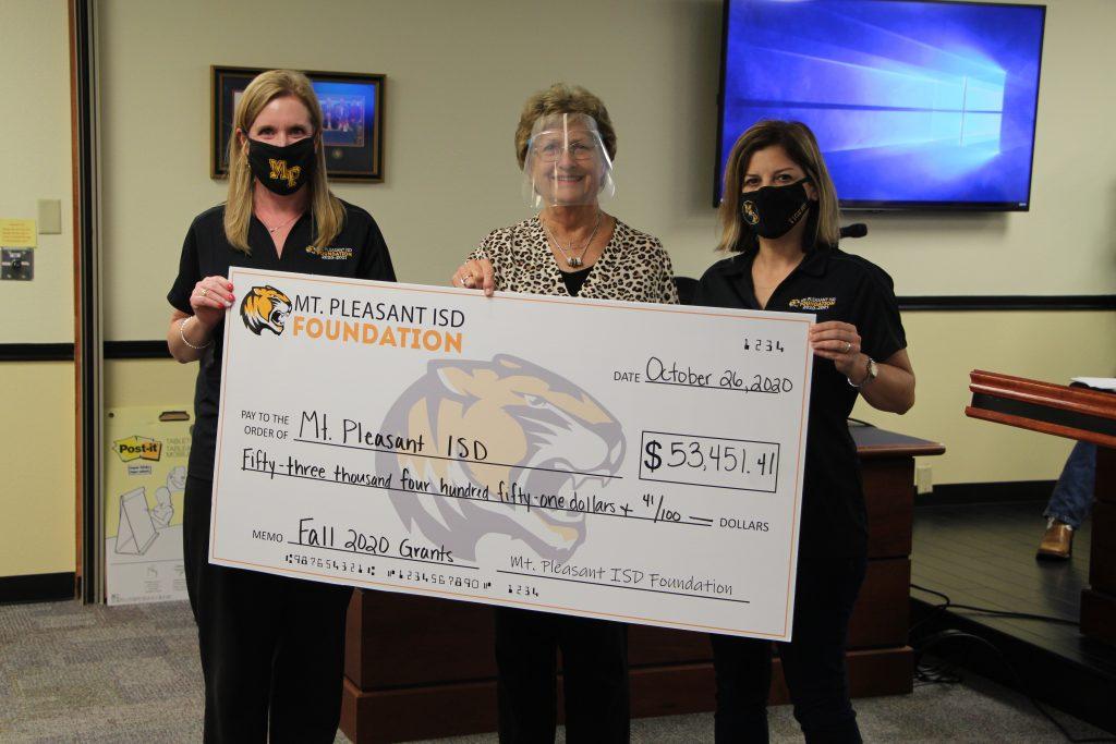 MPISD Foundation presents check to MPISD Board